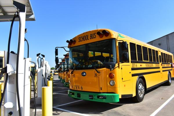 photo of Stockton school district partners with Mobility House for electric school bus charging; savings of $500K over 5 years image