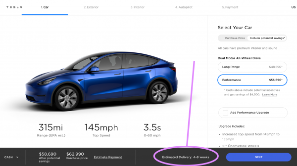 Tesla Model Y Delivery Estimate Goes…