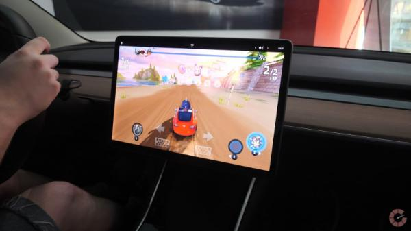 Playing video games on a Tesla Model 3…